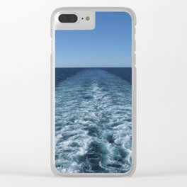 SEA BLUE WAKE AND HORIZON - Pacific Ocean Clear iPhone Case