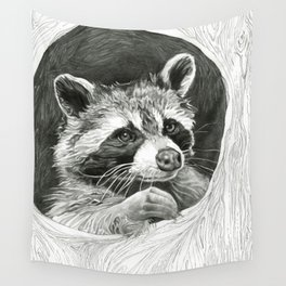 Raccoon In A Hollow Tree Drawing Wall Tapestry