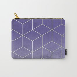 Geometric Marble Ultraviolet Purple Gold Carry-All Pouch