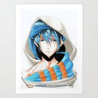 iwatobi Art Prints featuring Free! Iwatobi Swim Club Haruka by Mistiqarts