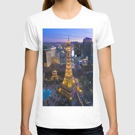 Aerial view of the Eiffel tower in Las Vegas T-shirt
