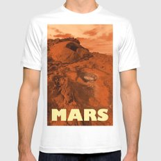 Mars landscape White MEDIUM Mens Fitted Tee