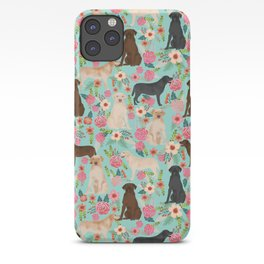 Labrador Retriever dog breed floral pattern for dog lover chocolate lab golden retriever labradors iPhone Case