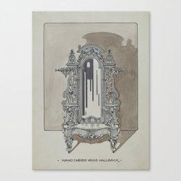 Carved Walnut Hall Rack Vintage Architecture Canvas Print