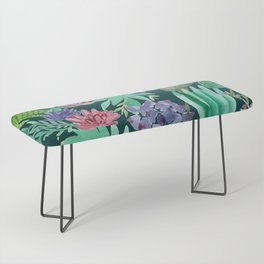 Watercolor Succulent Collage Bench