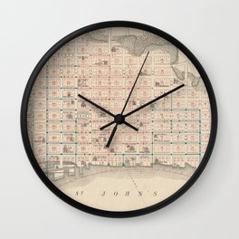 Vintage Map of Jacksonville FL (1878) Wall Clock
