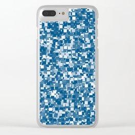 Snorkel Blue Pixels Clear iPhone Case