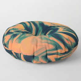 Abstract Painting Orange and Petrol  Floor Pillow