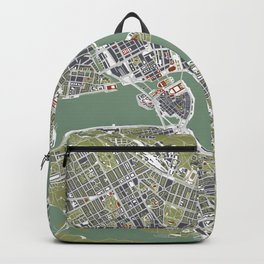 Stockholm city map engraving Backpack