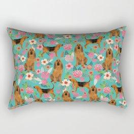 Bloodhound floral dog breed dog pattern pet friendly pet portraits custom dog gifts mint Rectangular Pillow