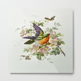 Birthday cards with decorative birds, flowers, and butterflies from The Miriam and Ira D Wallach Division Of Art, Prints and Photographs Picture Collection Metal Print