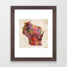 Wisconsin map Framed Art Print