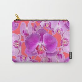 Pink & Purple Orchids Coral Colored Art Patterns Carry-All Pouch