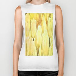 Pale Yellow Tulips Abstract Floral Pattern Biker Tank