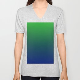Cute Green And Blue Gradient Design Unisex V-Neck