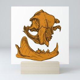Cat Skull 4 (tangerine orange) Mini Art Print