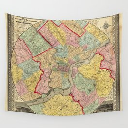 Map of Philadelphia 1849 Wall Tapestry