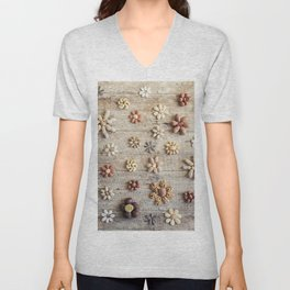 Dried fruits arranged forming flowers (4) Unisex V-Neck