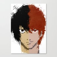 death note Canvas Prints featuring Death Note by Divya Tak