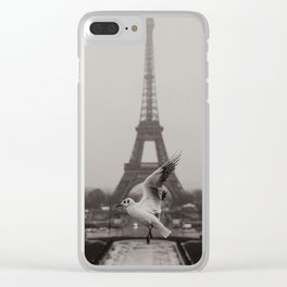 Seagull in front of Eiffel Tower Clear iPhone Case