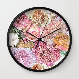 A Field of Roses in Color Penicil Wall Clock