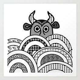 The Bull in the Clouds . Art Art Print