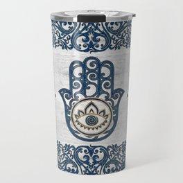 Hamsa Hand Hand of Fatima blue wood Travel Mug