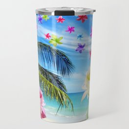 Tropical Beach and Exotic Plumeria Flowers Travel Mug