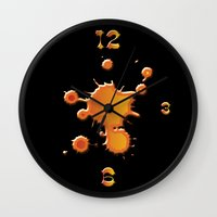 "wall clock Wall Clocks featuring wall clock ""splash"" by Christian Haberäcker - acryl abstract"