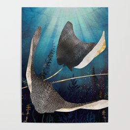 Metallic Stingray Poster