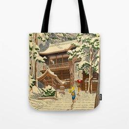Asano Takeji Snow In Yuki Shrine Vintage Japanese Woodblock Print East Asian Beautiful Art Tote Bag