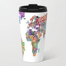 Text Map of the World Travel Mug