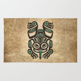 Teal Blue and Black Haida Spirit Tree Frog Rug