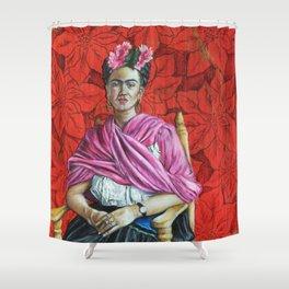 Frida Kahlo with Poinsettias Shower Curtain