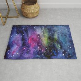 Galaxy Watercolor Night Sky Painting Nebula Art Rug