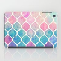 girly iPad Cases featuring Rainbow Pastel Watercolor Moroccan Pattern by micklyn