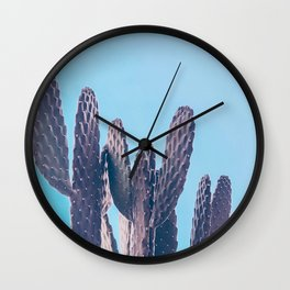Cactus Photography Print {2 of 3} | Cool Blue Succulent Plant Nature Western Desert Design Decor Wall Clock