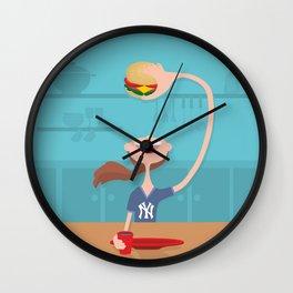 happy girl eating burger Wall Clock
