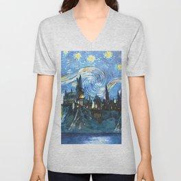Starry Night(Hogwarts Castle) Unisex V-Neck