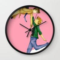 destiel Wall Clocks featuring Destiel by doodle bags