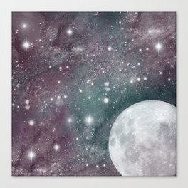 Cosmic Blue and Purple Sky with Moon  Canvas Print