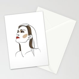 Woman with long hair and red lipstick. Abstract face. Fashion illustration Stationery Cards