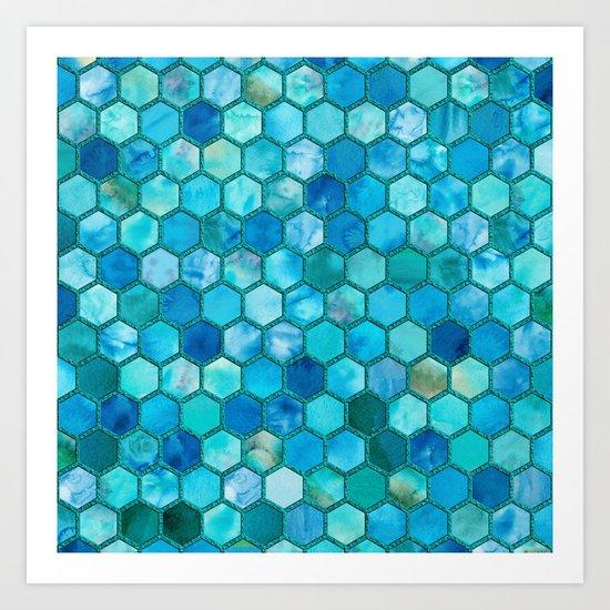 Blue aqua geometric hexagonal elegant & luxury pattern Art Print