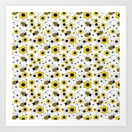 Honey Bumble Bee Yellow Floral Pattern Art Print