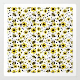 Honey Bumble Bee Yellow Floral Pattern Art Print