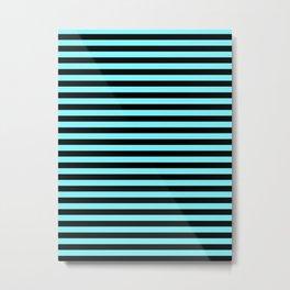 Electric Blue and Black Horizontal Stripes Metal Print