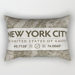 Vintage Antique-Styled Map of New York City Beige, Brown Chic Rectangular Pillow