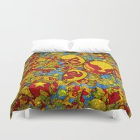 mucha Duvet Covers featuring Mucha Lucha by Guilherme Marconi
