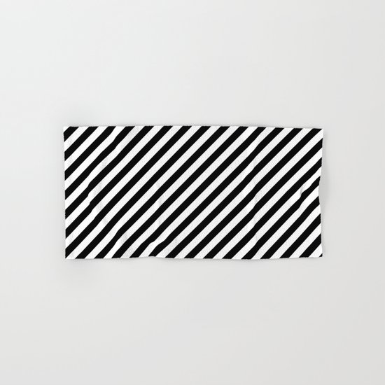 Diagonal Stripes (Black/White) Hand & Bath Towel