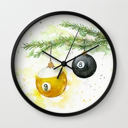 Billiard Pool Balls Christmas Ornaments 8-Ball 9-Ball Wall Clock